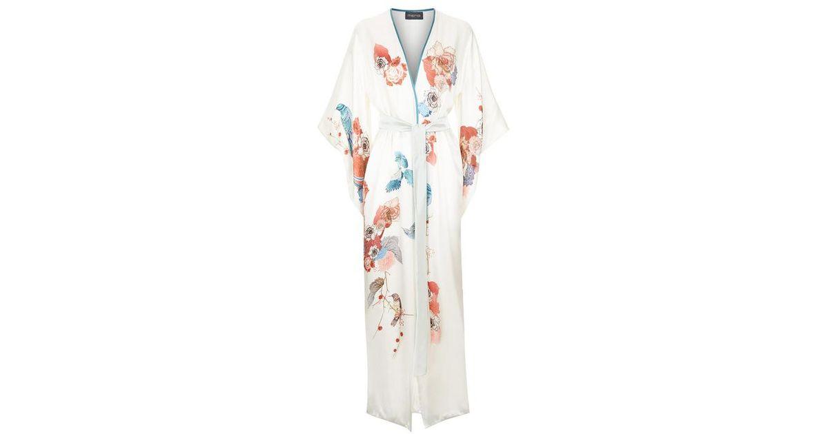 51709c997 Meng White Silk Satin Full Length Lined Kimono in White - Lyst