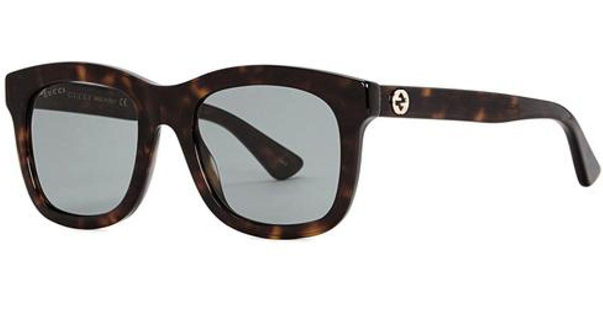 0aa12374faf Lyst - Gucci Tortoiseshell Wayfarer-style Sunglasses in Black for Men