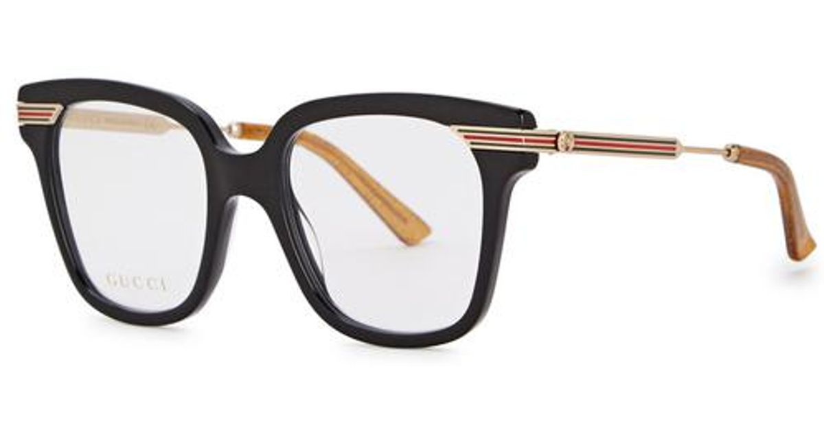a8a5779b7d2 Lyst - Gucci Black Square-frame Optical Glasses in Black