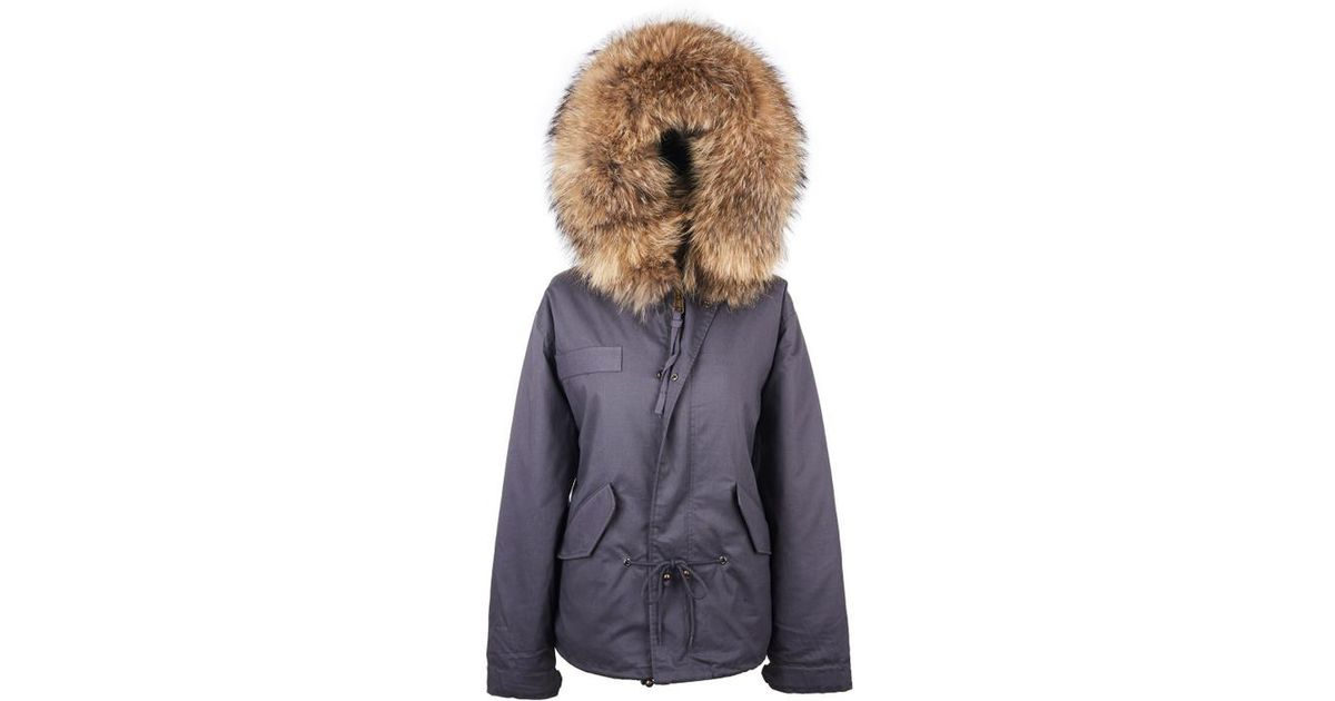 d177bf95624e Popski London Grey Parka Jacket With Natural Raccoon Fur Collar in Gray -  Lyst