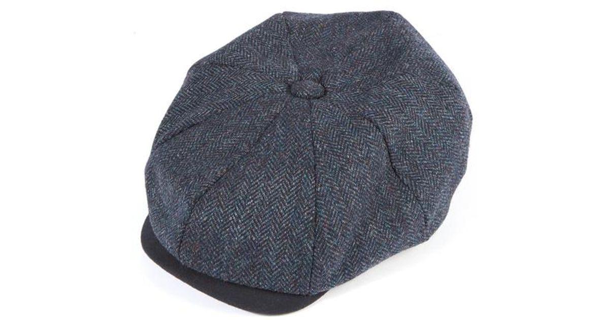 0d3fe1e0d6c40 Christys  8 Piece Baker Boy Tweed Cap in Blue for Men - Lyst