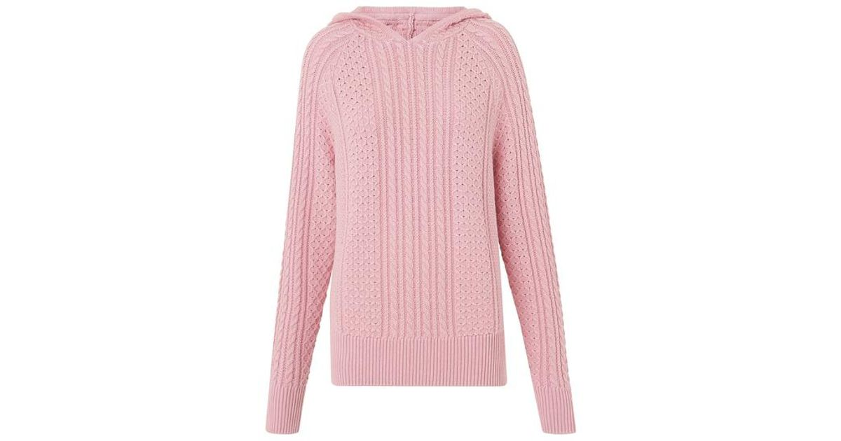 d645bb2fcc59 Kitri Kate Pink Cable Knit Hoody in Pink - Lyst