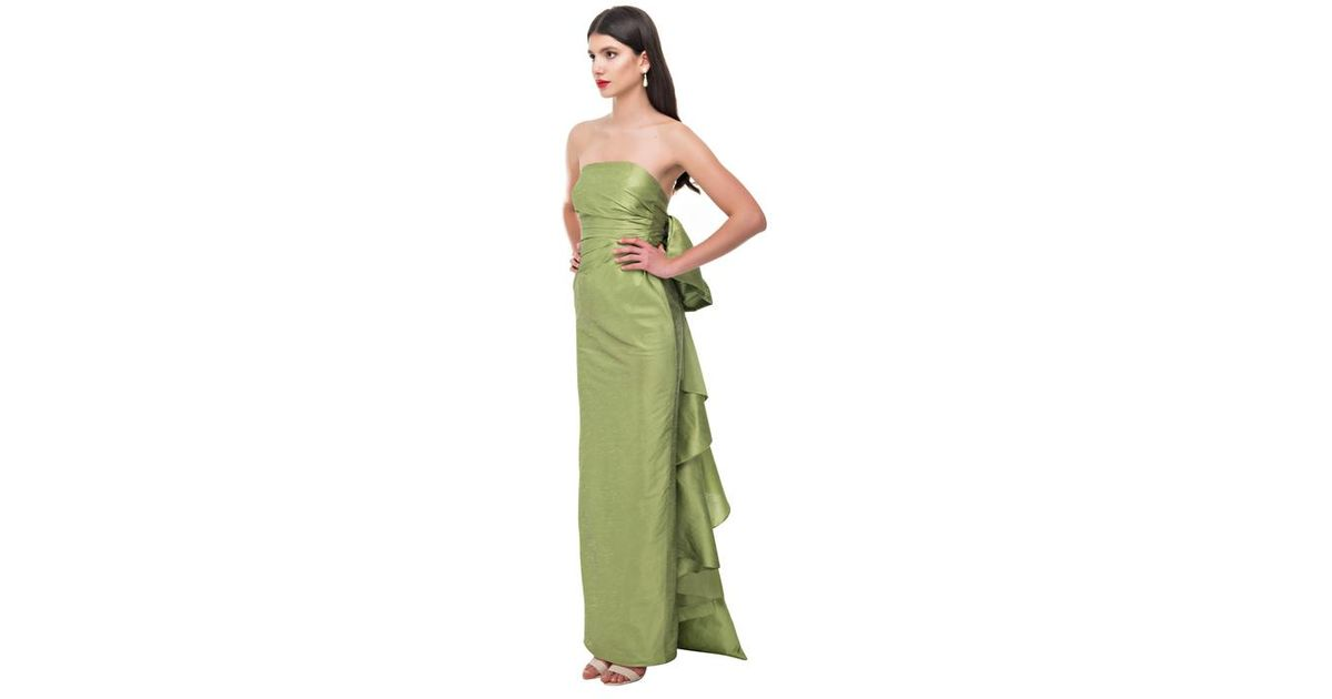 Bambah - Green Olive Draped Bow Gown - Lyst