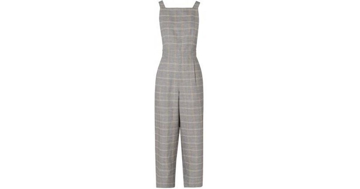 d6ae3890d8a Kitri Alexa Check Linen Jumpsuit in Gray - Lyst
