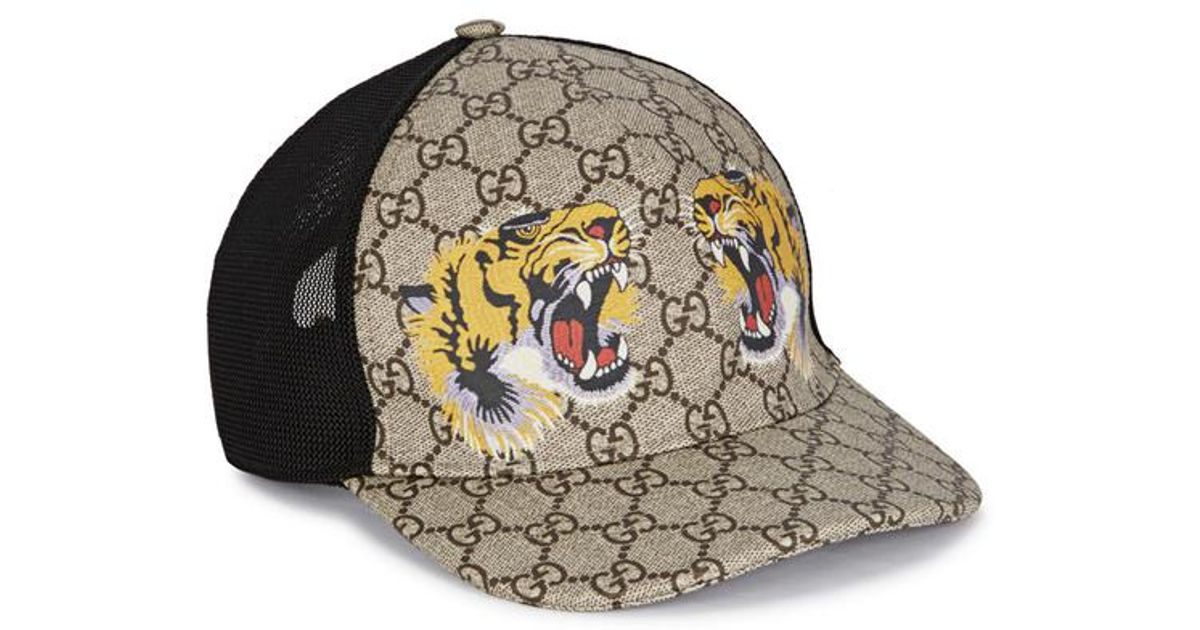9c356f0a260 Gucci Tiger-print Gg Supreme Monogrammed Cap in Natural for Men - Lyst