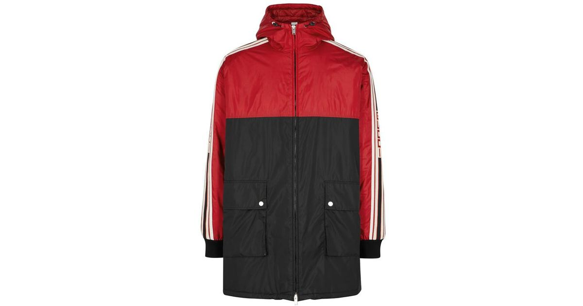 c84daf8bd Gucci Two-tone Striped Shell Coat in Red for Men - Lyst