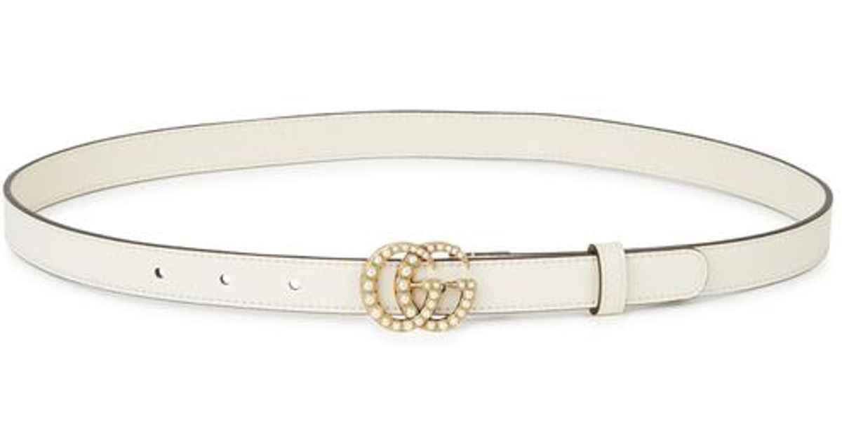 a0795e1cf03 Gucci Gg Faux Pearl-embellished Leather Belt in White - Lyst