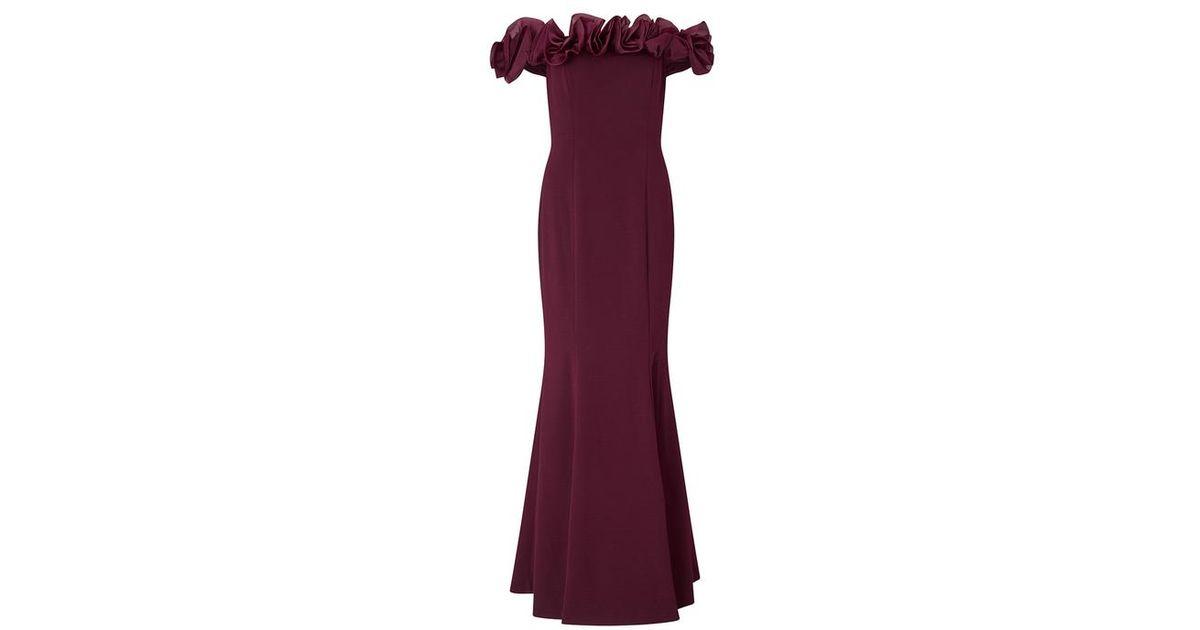 Aidan Mattox Off The Shoulder Long Dress In Wine In Purple Lyst
