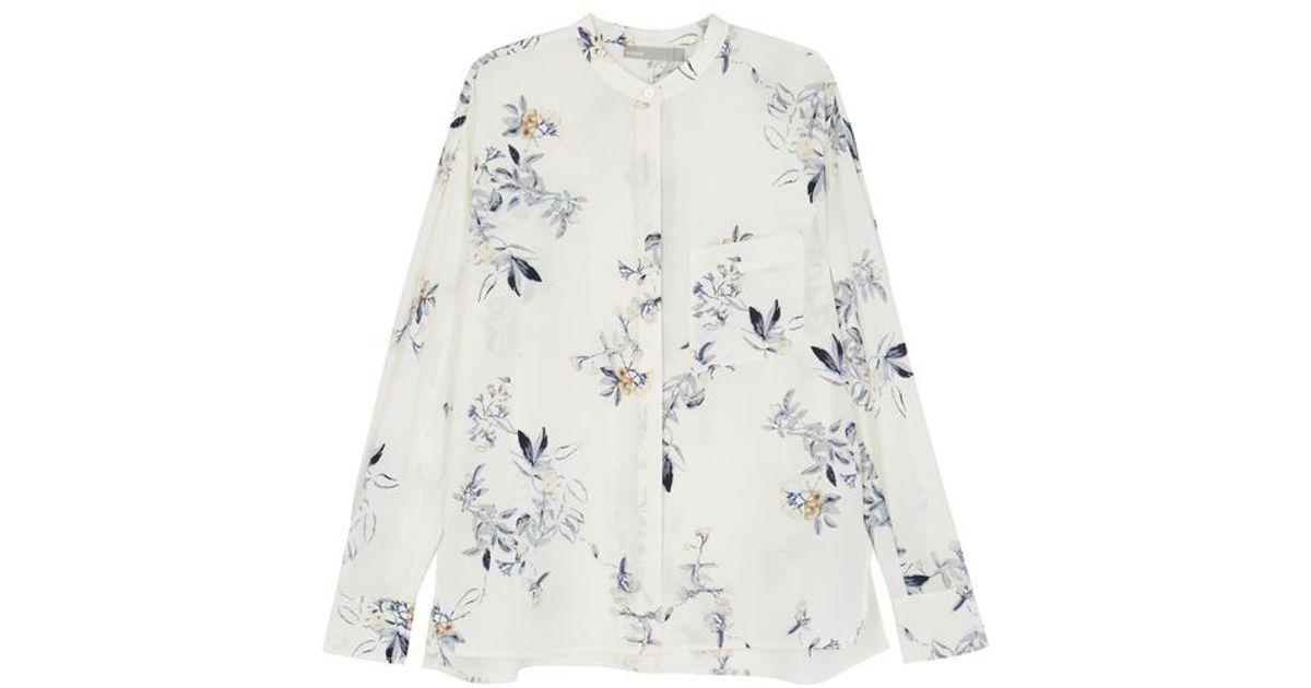 d4eb6b84babe0 Vince Floral-print Silk Chiffon Shirt in Natural - Lyst