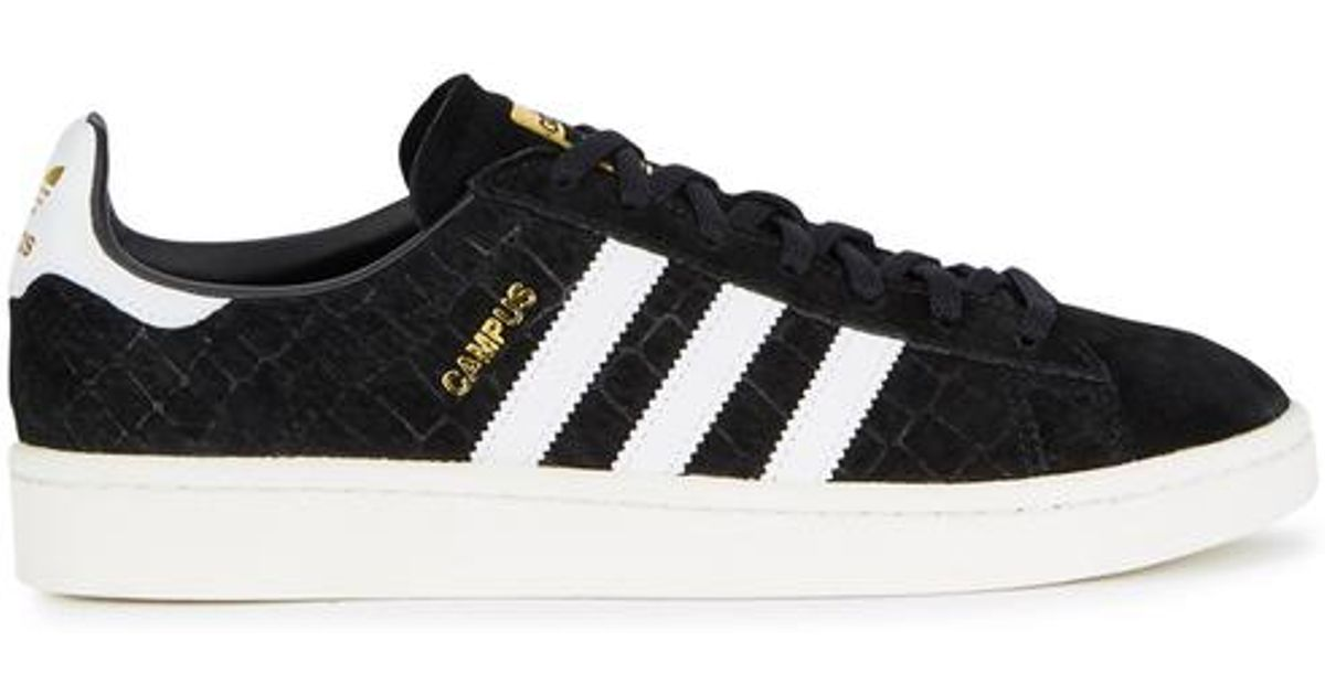 f4be41c8be06f adidas Originals Campus Crocodile-effect Suede Trainers in Black - Lyst