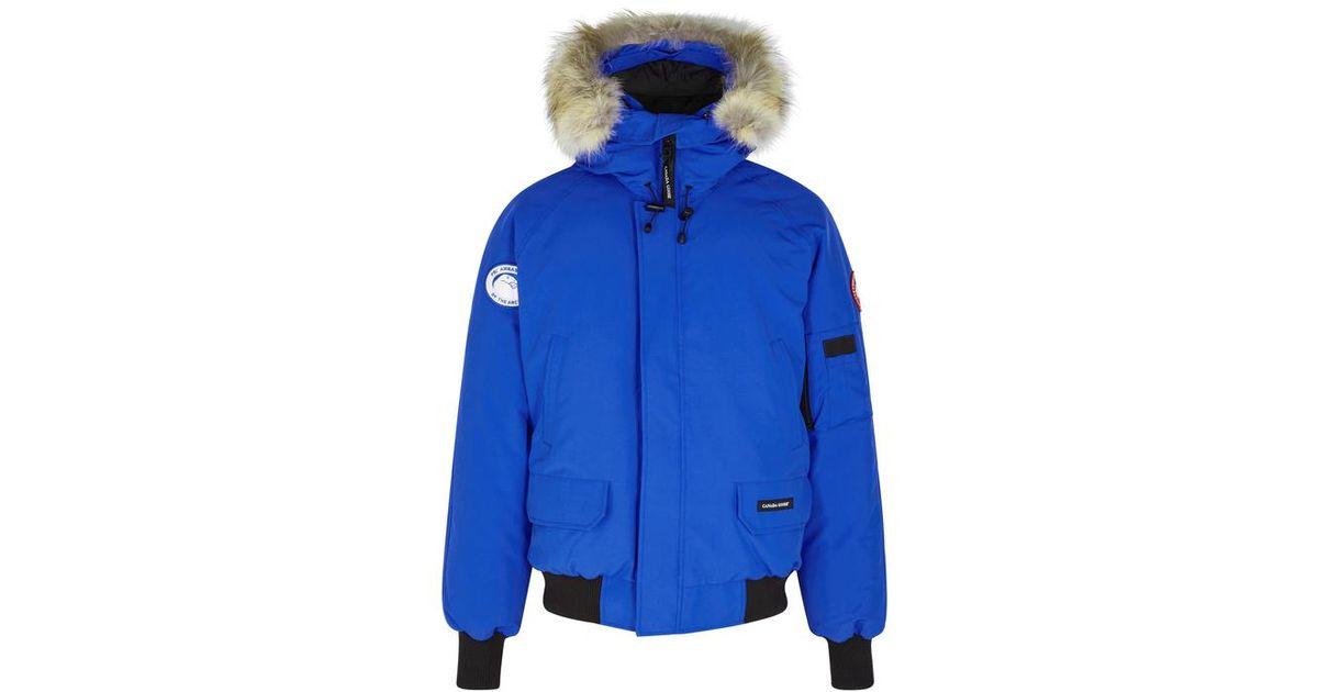 Canada Goose Pbi Chilliwack Fur trimmed Shell Jacket in Blue