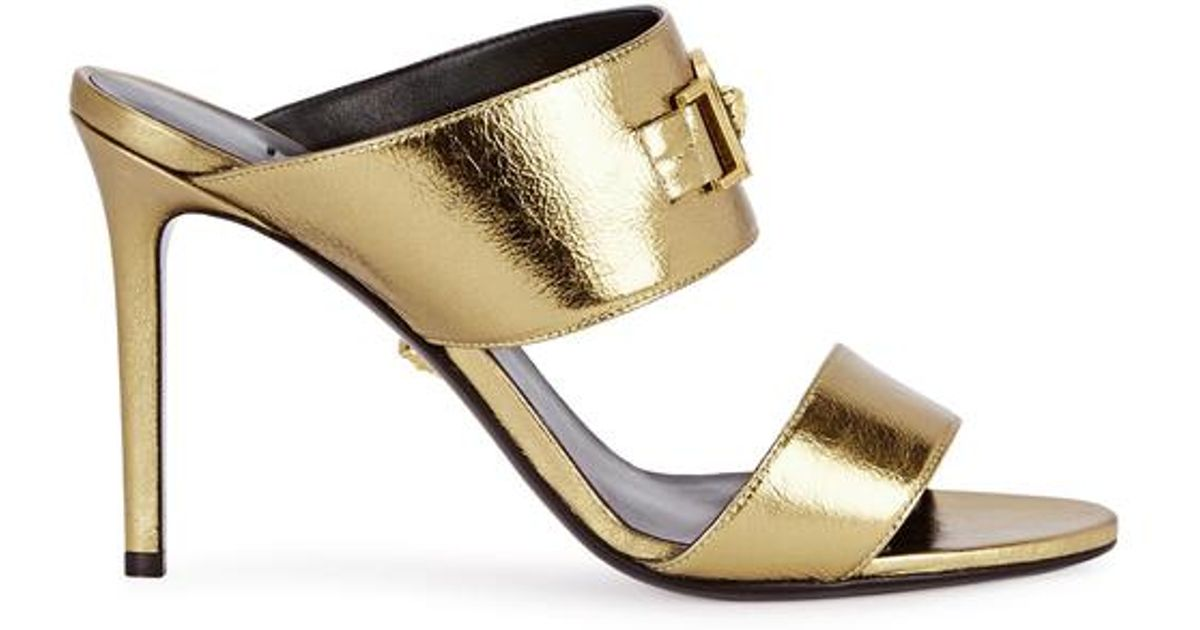 65a98531ac4 Versace Gold Medusa Leather Mules in Metallic - Lyst