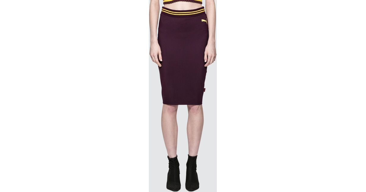 f0dfa1f37 PUMA Fenty By Rihanna Varsity Pencil Skirt in Purple - Lyst