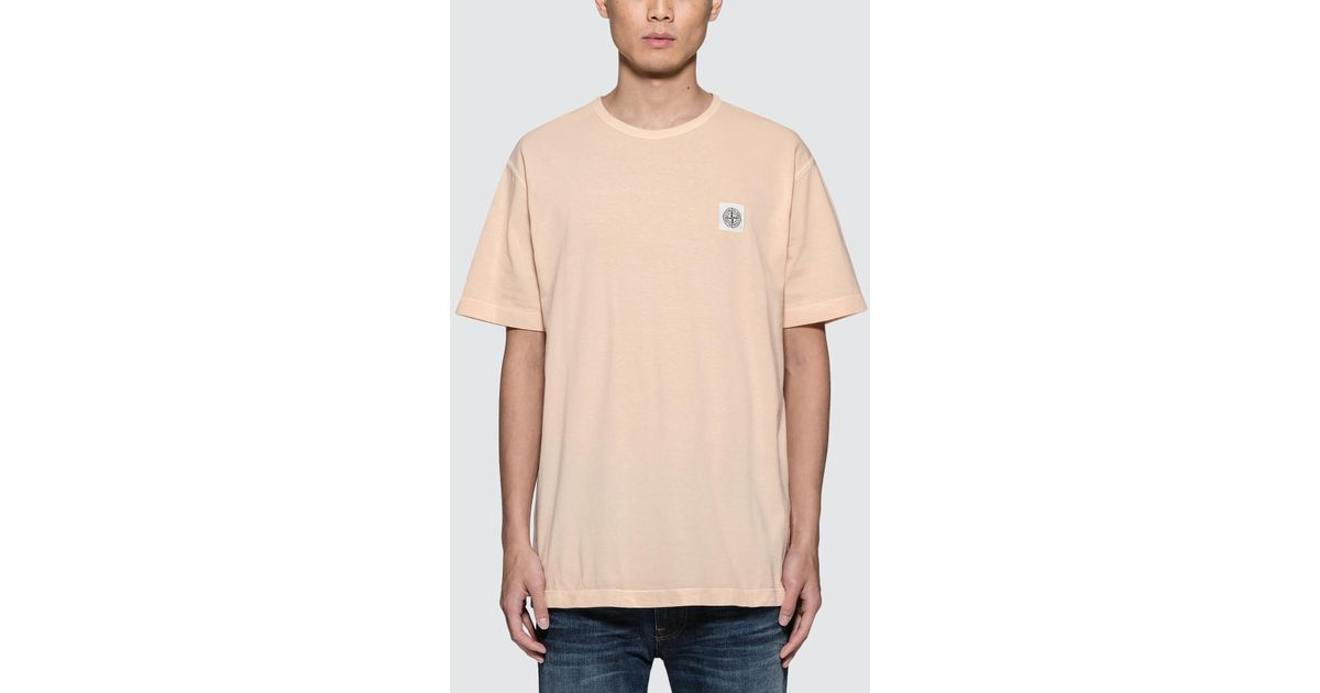 on sale a2cad 820dd Lyst - Stone Island S s T-shirt With White Logo Patch in Orange for Men
