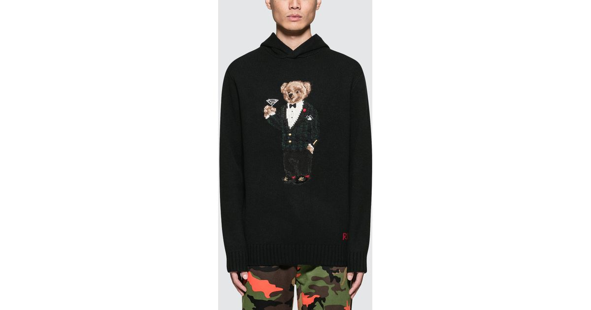 d79c0c29a6a45 Polo Ralph Lauren Bear-intarsia Wool Hoodie in Black for Men - Save 35% -  Lyst