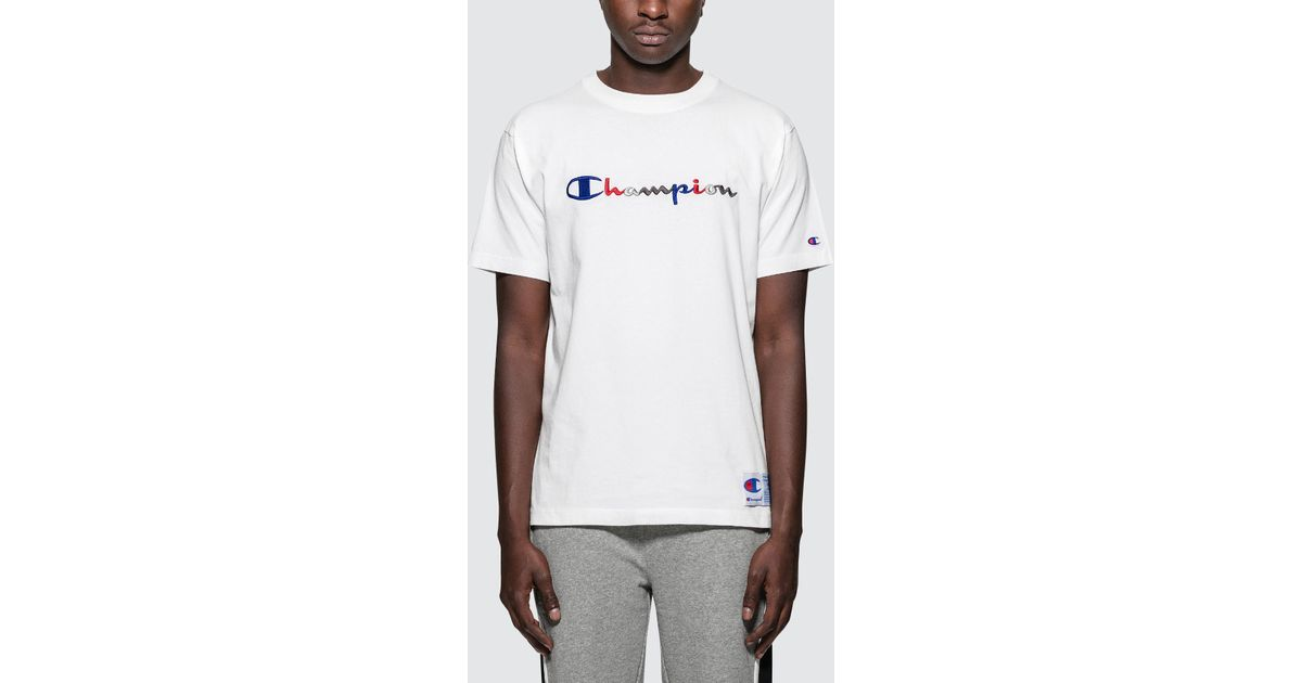 b9e854c7 Champion Tri-color Script Logo S/s T-shirt in White for Men - Lyst