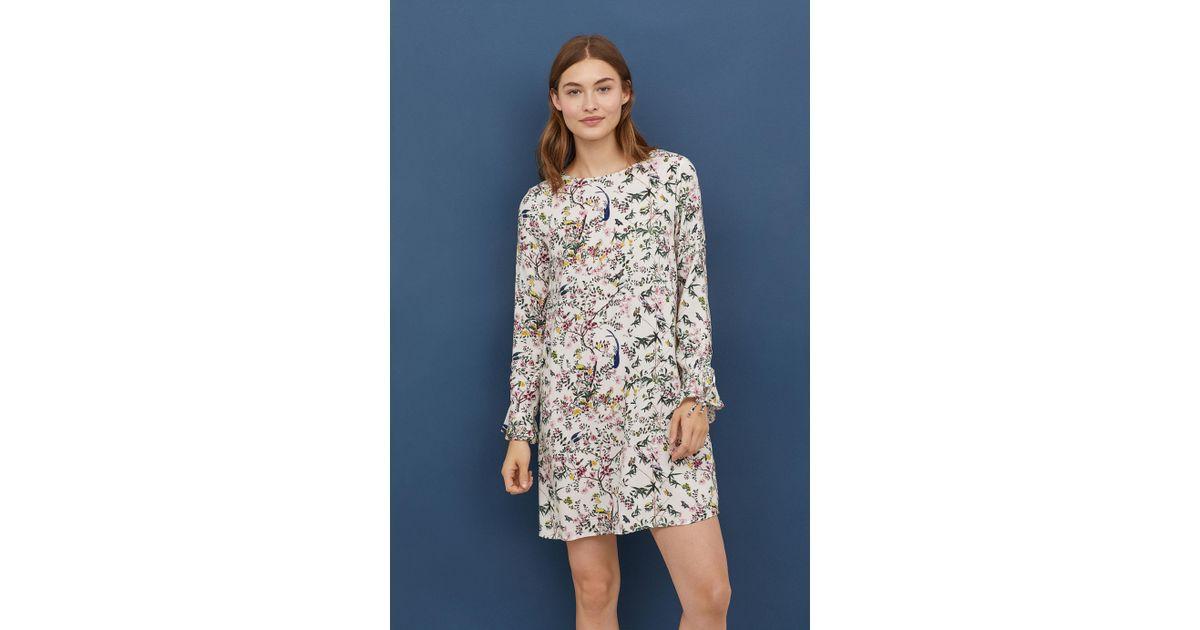 e013e2ab473e H&M Flounce-sleeved Dress in White - Lyst
