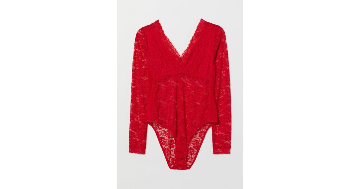dd46aa771c H&M H & M+ Lace Body in Red - Lyst