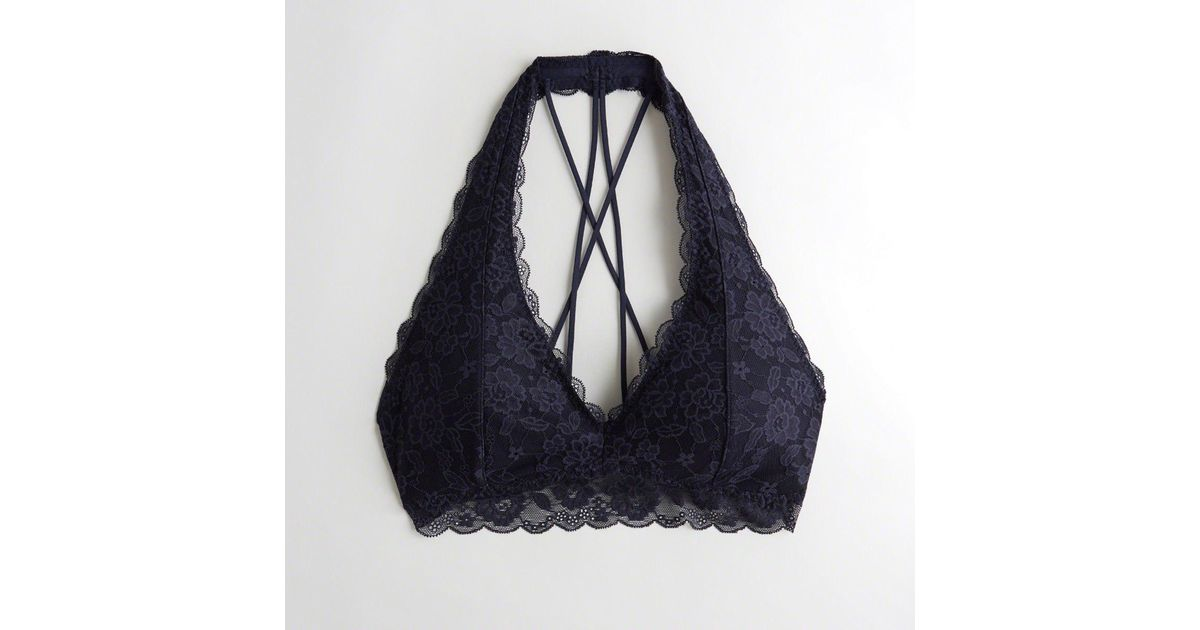 ec7925e9ea Lyst - Hollister Girls Strappy Halter Bralette With Removable Pads From  Hollister in Blue