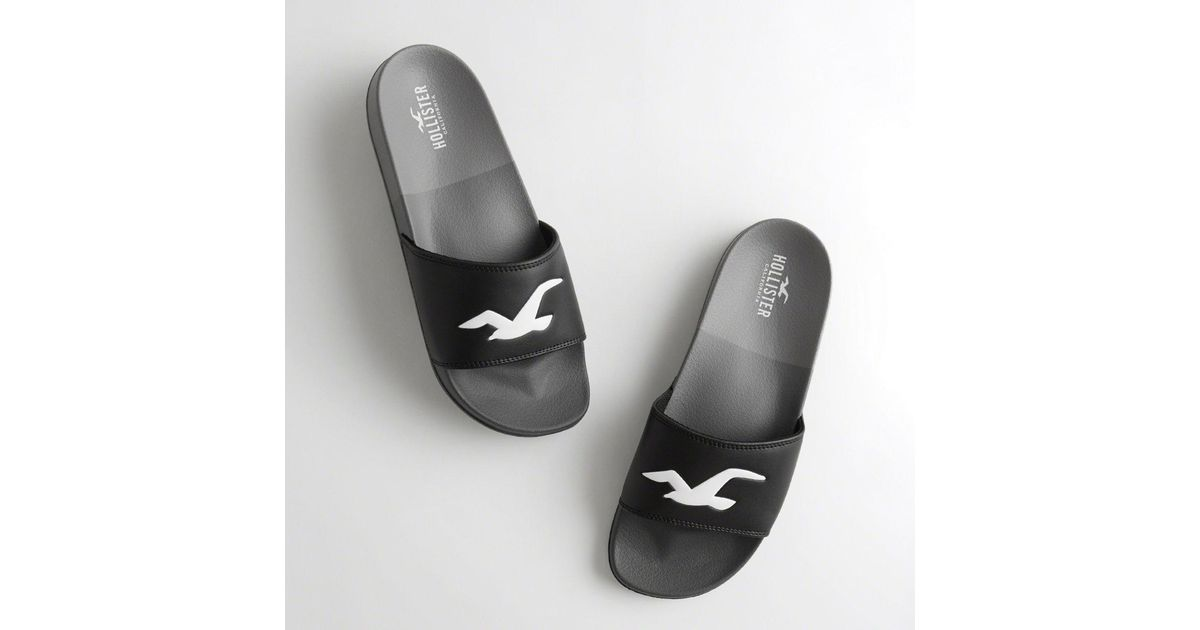 6aa2c13fd20efb ... Lyst - Hollister Girls Colorblock Logo Slide Sandals From Hollister in  Black for Men 50% ...