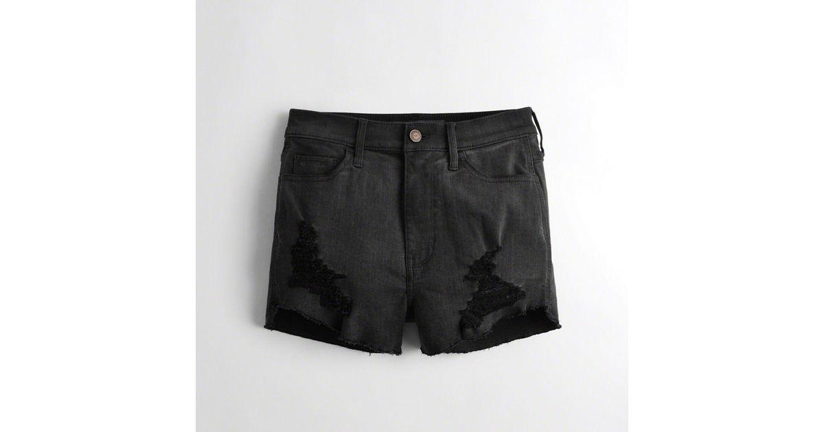 983cc8e08 Lyst - Hollister Girls Stretch Ultra High-rise Denim Short-shorts From  Hollister in Black
