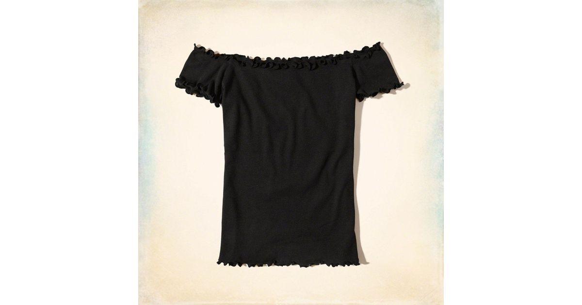88ff28071d025 Lyst - Hollister Ribbed Slim Off-the-shoulder Top in Black