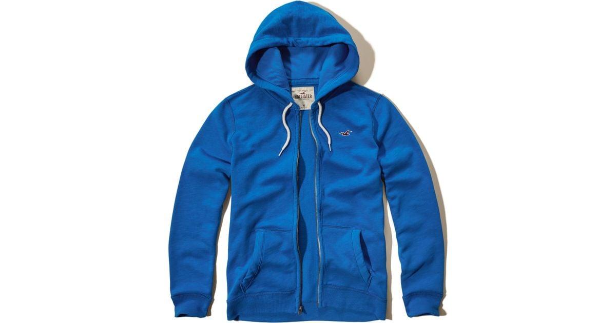 Hollister Iconic Fleece Hoodie In Blue For Men