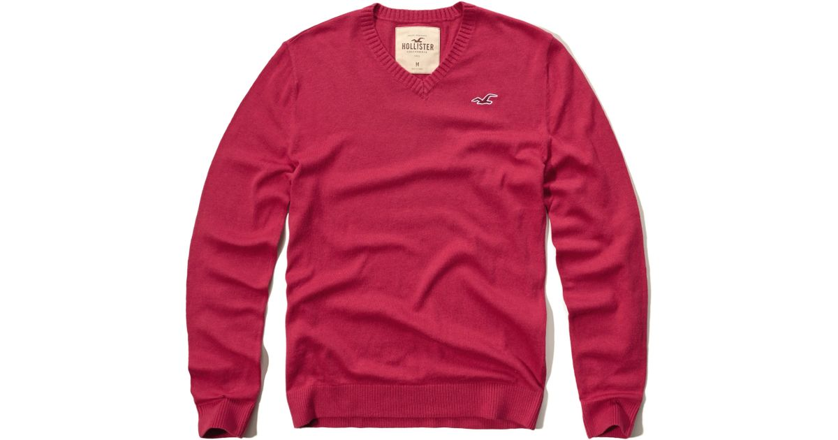 Hollister Sweaters Hollister Hoodies Hollister Shirts Hollister Jacket Hollister Pants Hollister Jeans: Hollister V-neck Icon Sweater In Red For Men