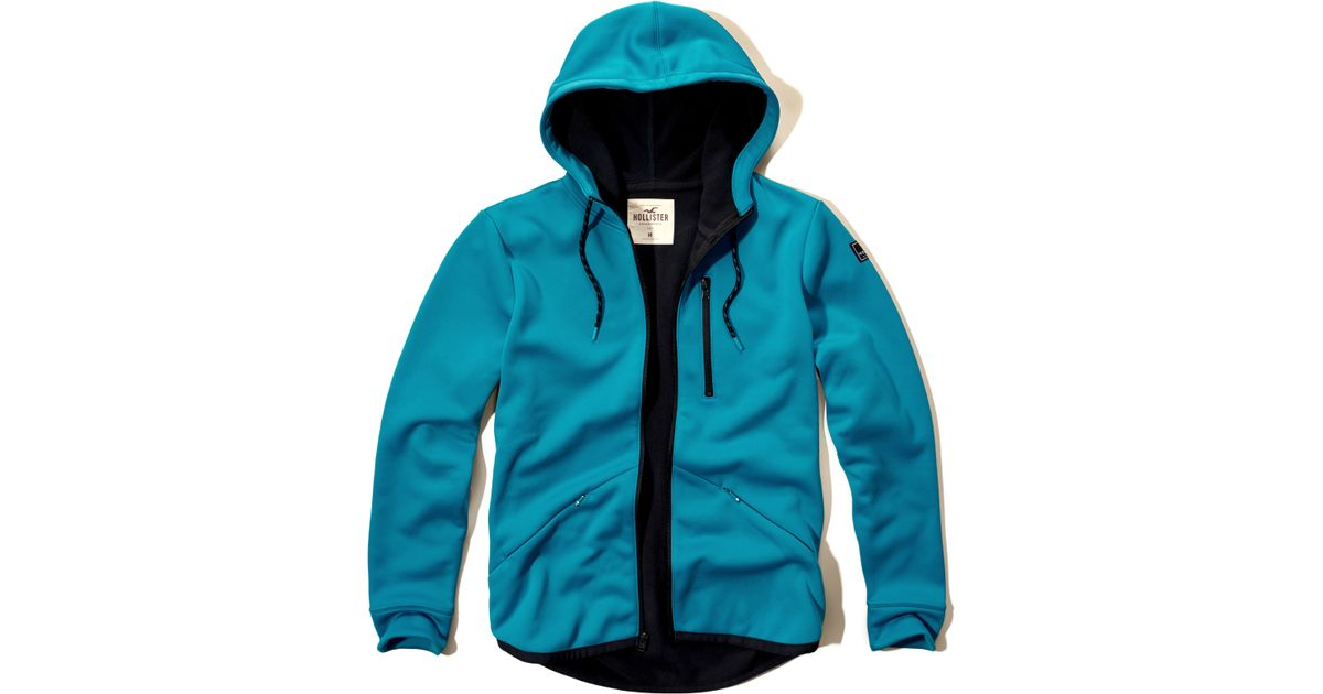 Hollister Contrast Zip-pocket Hoodie In Blue For Men