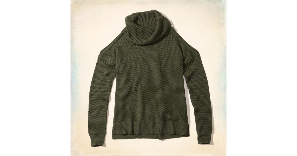 1c9152c1afb2 Lyst - Hollister Cowl Neck Cold Shoulder Sweater in Green