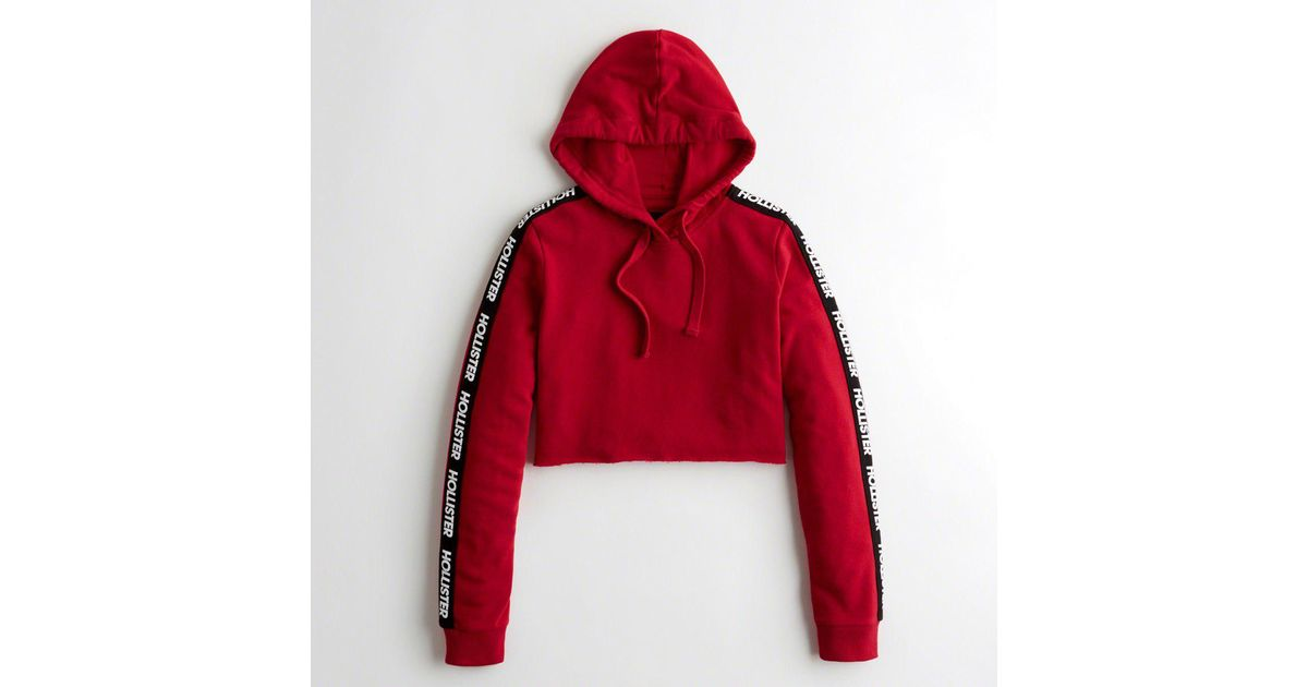 Lyst Hollister Girls Cutoff Ultra Crop Hoodie From Hollister In Red