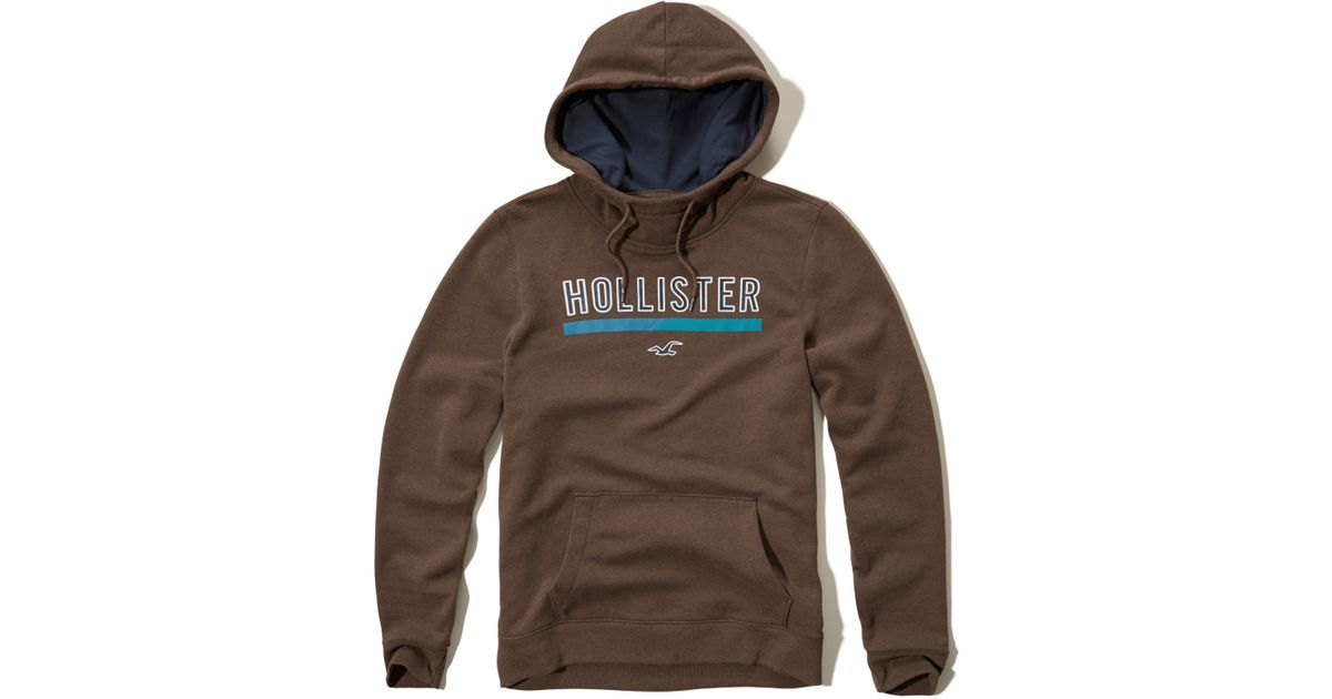 Hollister Printed Logo Graphic Hoodie In Brown For Men