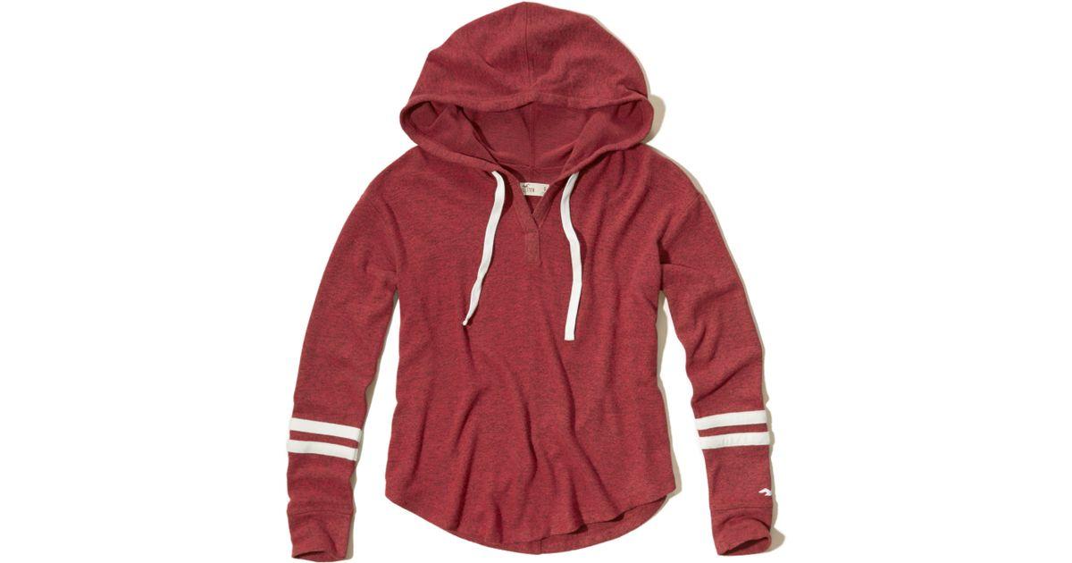 Hollister Textured Fleece Hoodie In Red