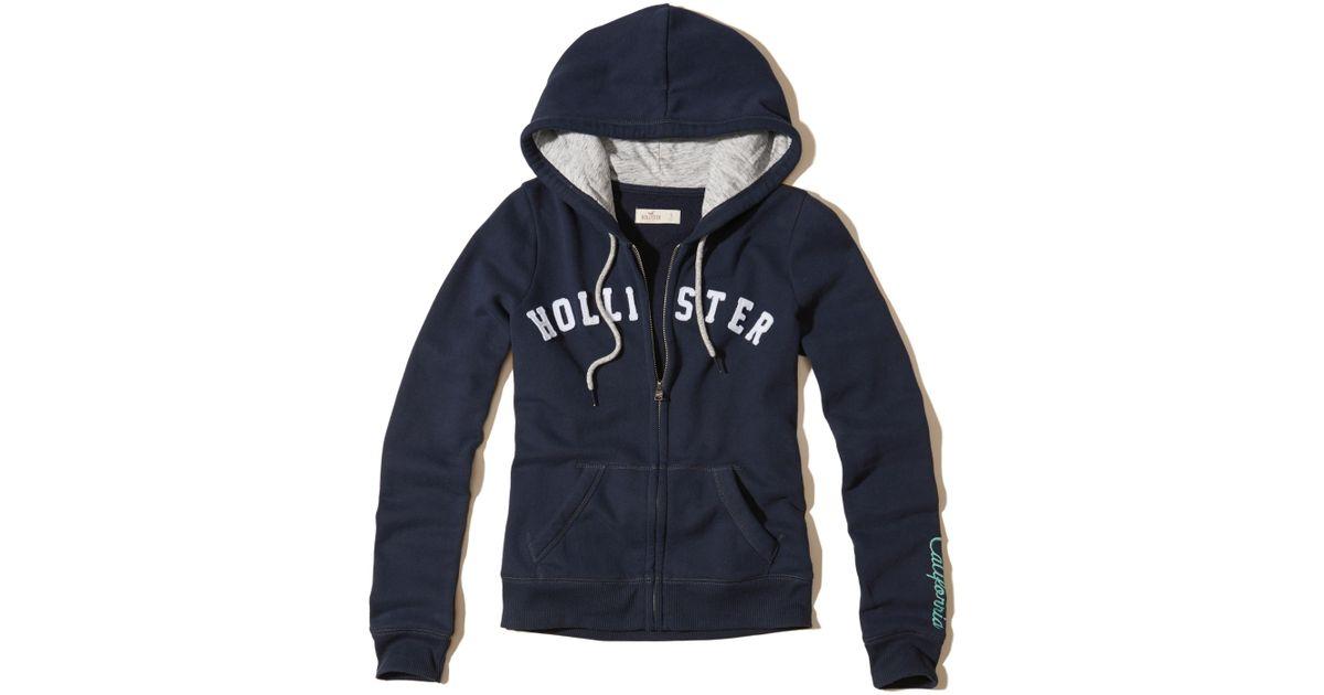Hollister Sweaters Hollister Hoodies Hollister Shirts Hollister Jacket Hollister Pants Hollister Jeans: Hollister Logo Graphic Fleece Hoodie In Blue