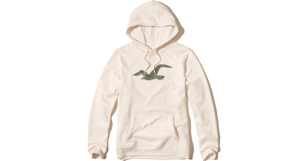 Hollister Sweaters Hollister Hoodies Hollister Shirts Hollister Jacket Hollister Pants Hollister Jeans: Hollister Patterned Icon Graphic Hoodie In White For Men