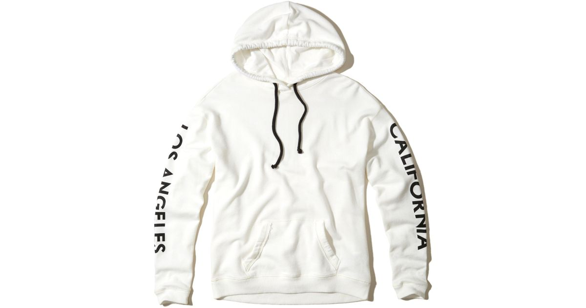 Hollister Oversized Graphic Hoodie In White