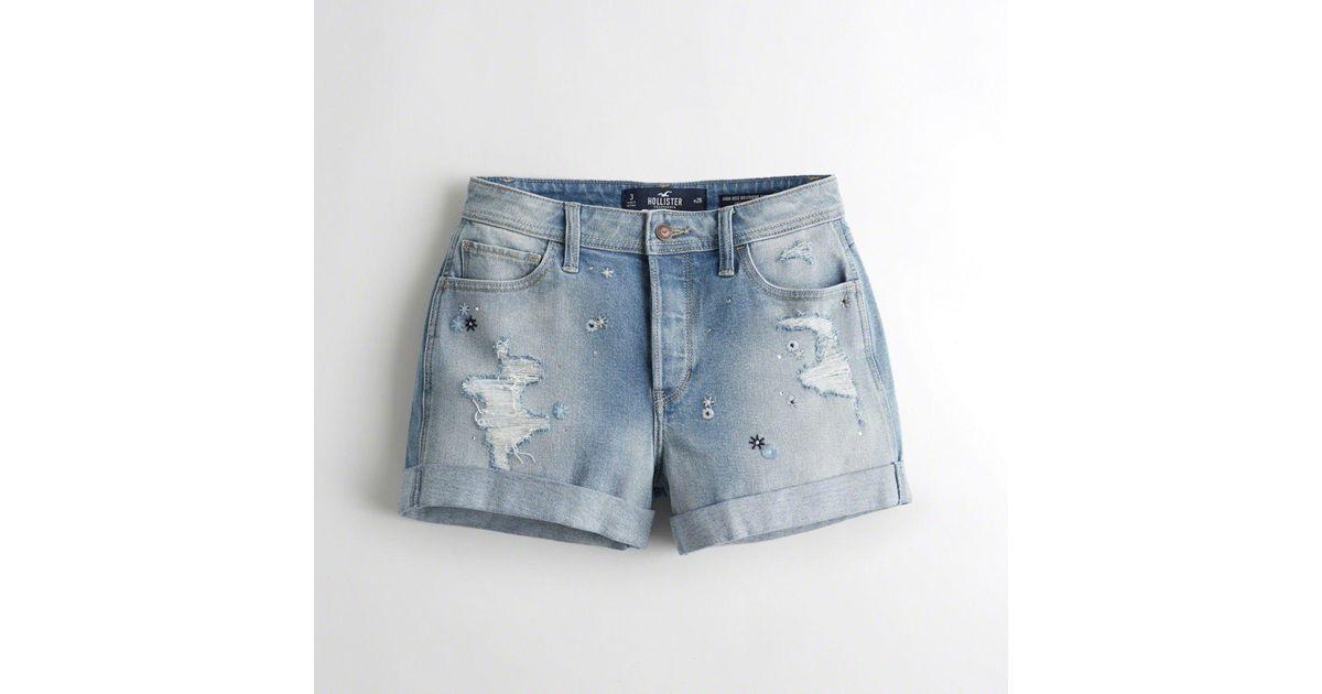 ab73cc1416 Hollister - Blue Girls Vintage Stretch High-rise Denim Boyfriend Shorts  From Hollister - Lyst
