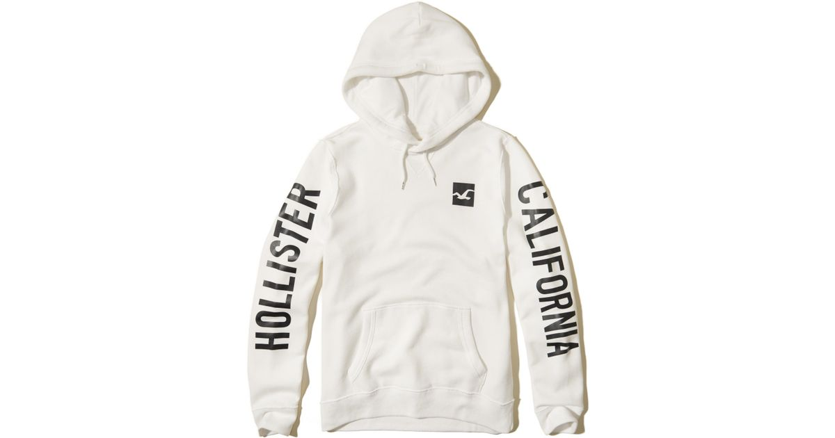 Hollister Printed Logo Graphic Hoodie In White For Men