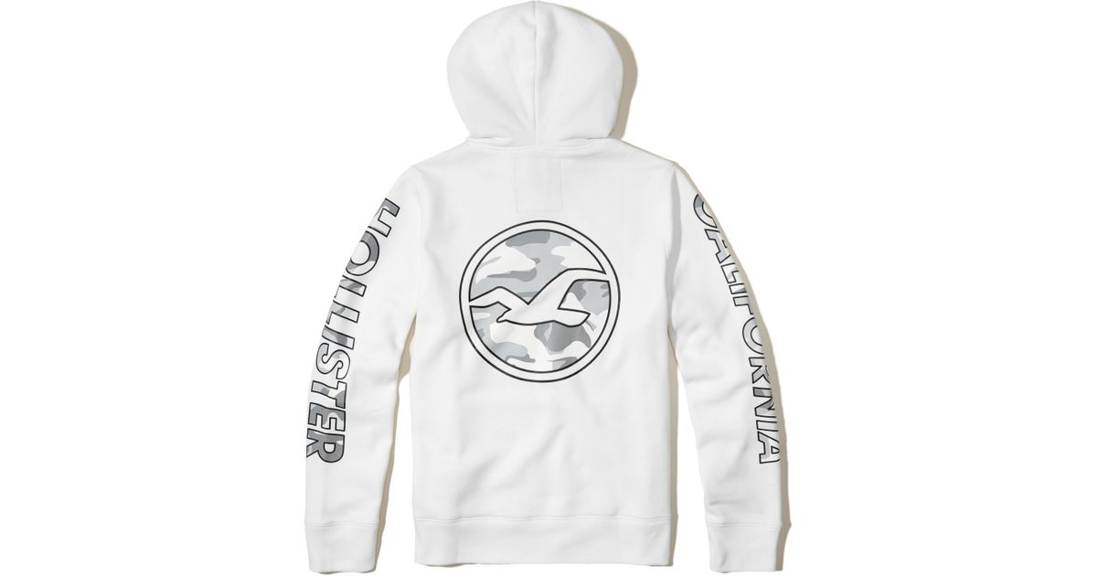 Hollister Sweaters Hollister Hoodies Hollister Shirts Hollister Jacket Hollister Pants Hollister Jeans: Hollister Logo Graphic Hoodie In White For Men