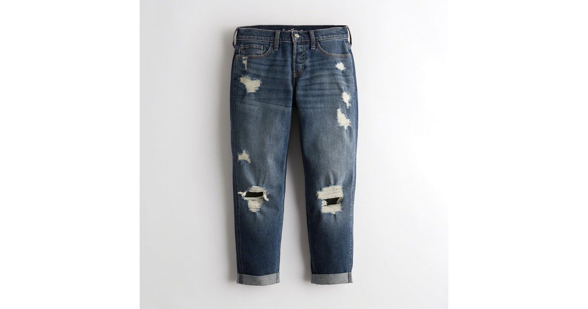 44795b41ab Lyst - Hollister Girls Vintage Stretch Low-rise Boyfriend Jeans From  Hollister in Blue
