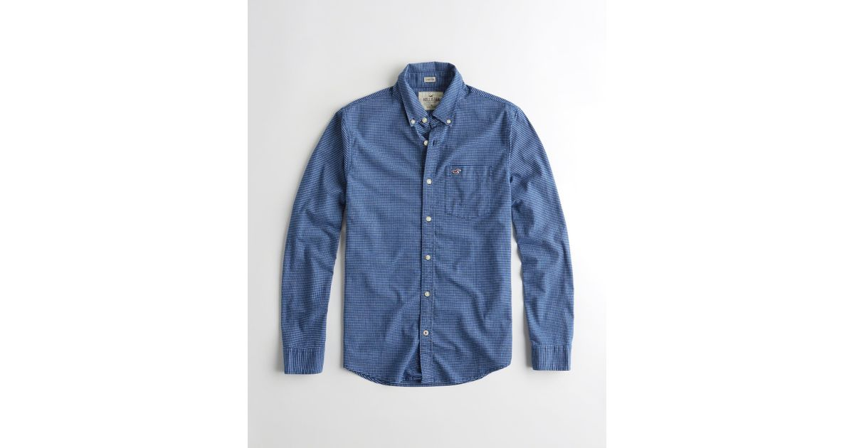 Hollister Stretch Patterned Oxford Shirt in Blue for Men ...