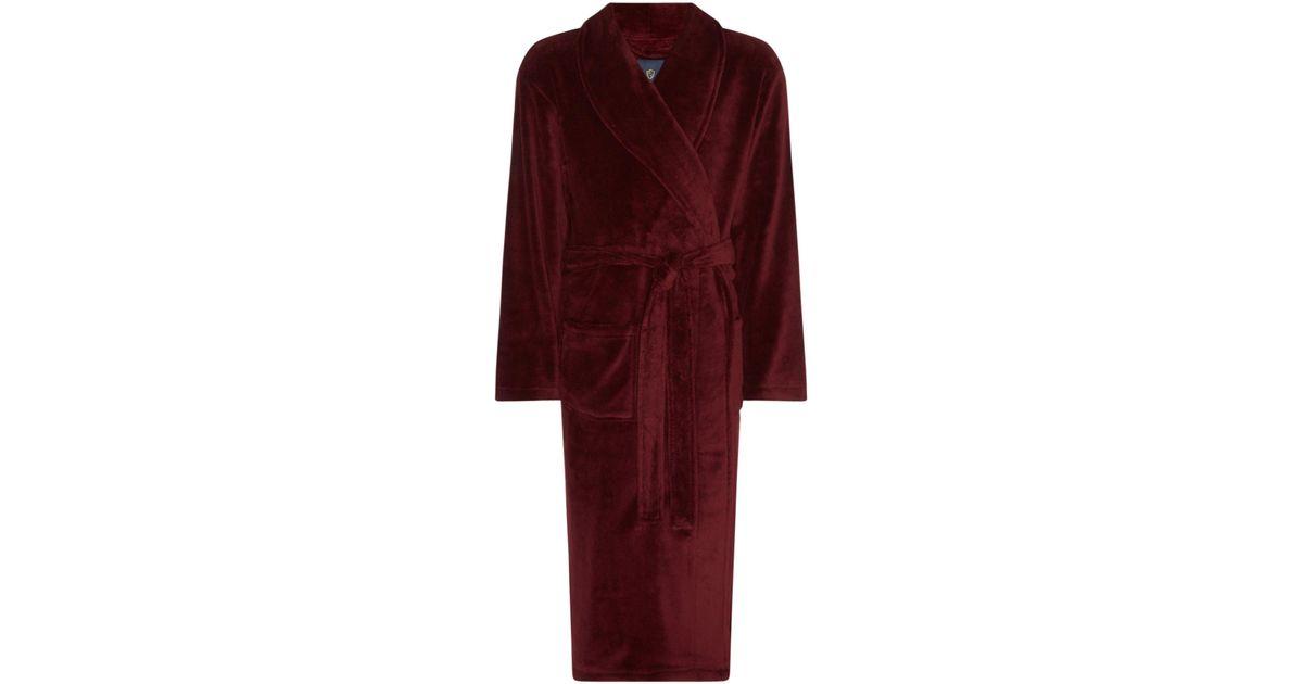 Howick Men\'s Solid Fleece Dressing Gown in Red for Men - Lyst