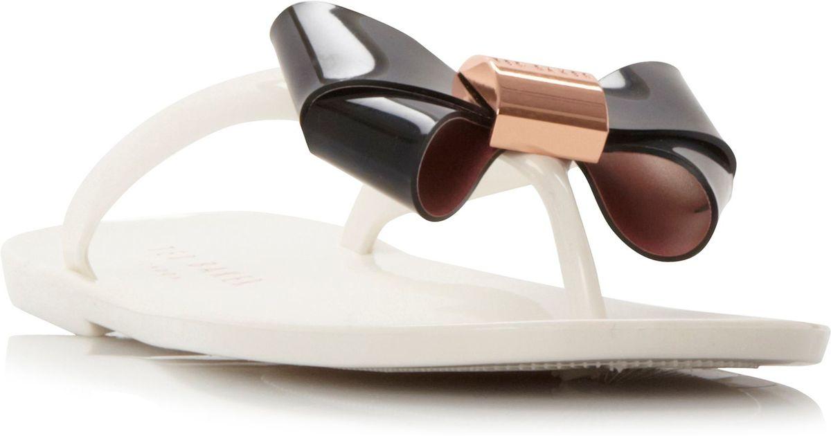 Ted Baker Ettiea Bow Detail Jelly Flip Flops In Black  Lyst-6641