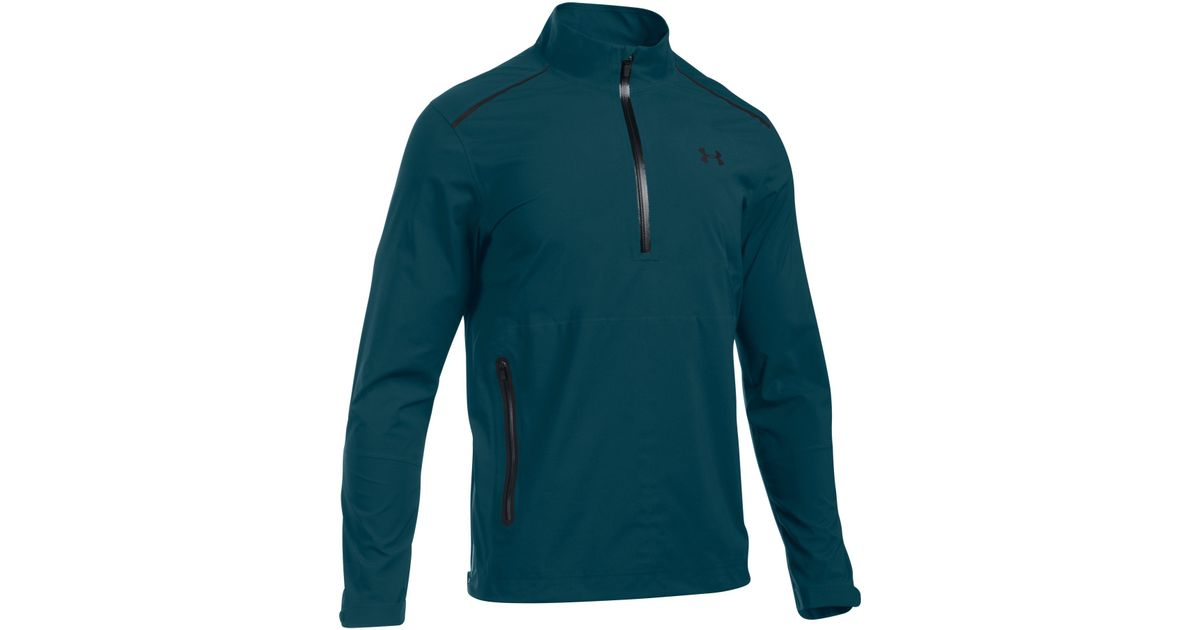 Under armour gore tex paclite 1 2 zip in blue for men lyst for Teal under armour shirt