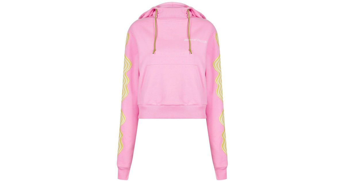 House of holland pink wave applique hoodie in pink lyst