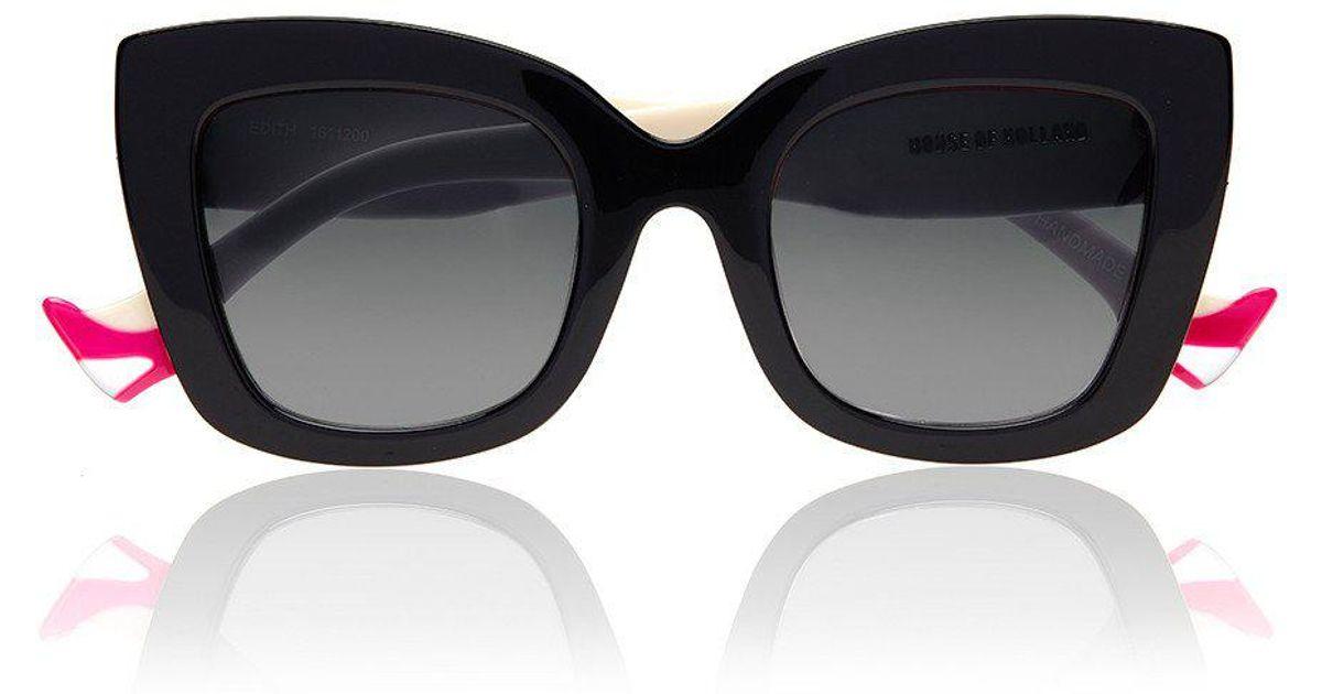 357607fb83 House of Holland Oversized Edith Black Stiletto Sunglasses in Black - Lyst
