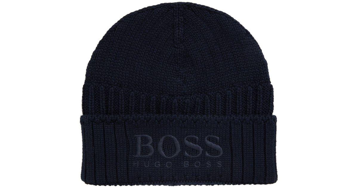 84493c8e545 BOSS Harmyn Logo Beanie in Blue for Men - Lyst