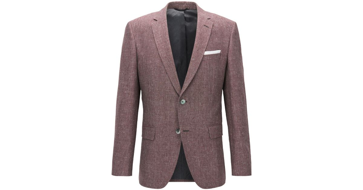 13f3cb419 BOSS Melange Cotton-linen Sport Coat, Slim Fit | Hutsons in Red for Men -  Lyst