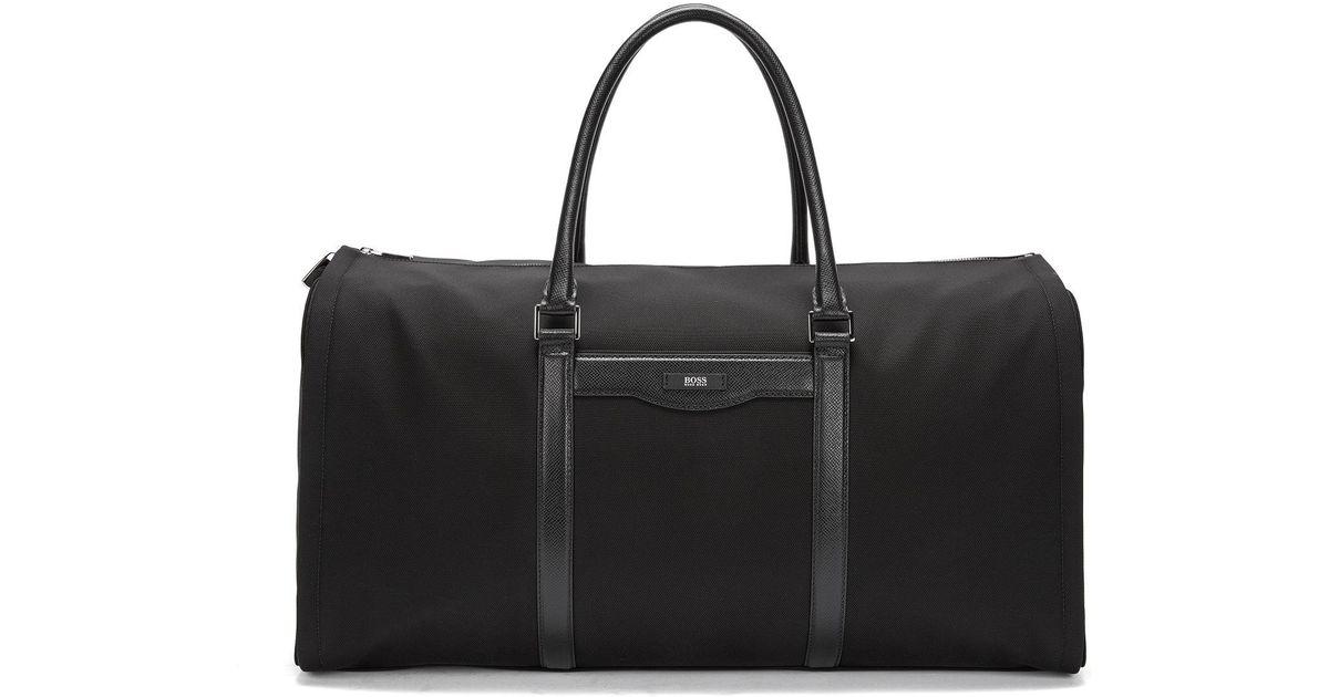 697873bda BOSS Nylon & Leather Travel Bag | Signature L Trav Bag in Black for Men -  Lyst