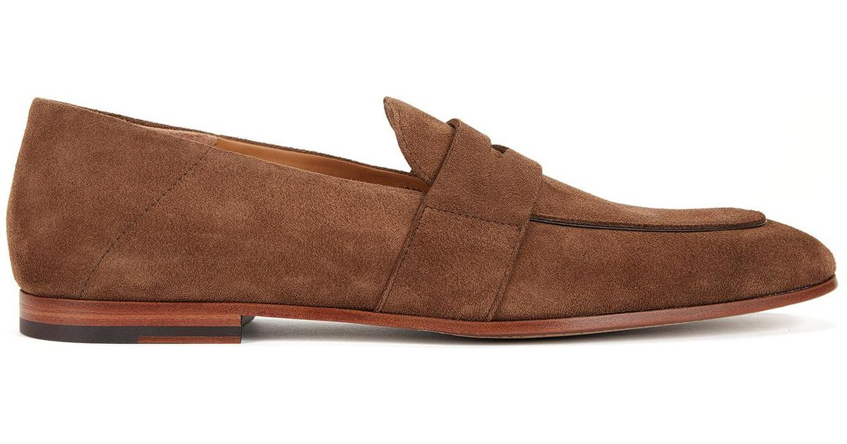 Suede driver moccasins with monogram embossing BOSS